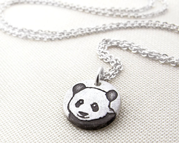 Tiny Panda necklace silver by lulubugjewelry on Etsy