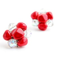 Vintage Red & Clear Glass Clip On Earrings -  Silver Tone Weaved Cluster Aurora Borealis Costume Jewelry / Red and White