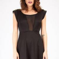 Black Don't Mesh Cutout Dress with Spikey Shoulder Detail