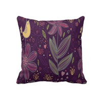 Purple Flowers Floral Decorative Throw Pillow from Zazzle.com