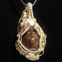 Unique Wire Wrap Pendant with Fire Agate in Gold by studiodct