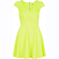 Lime cap sleeve panelled skater dress