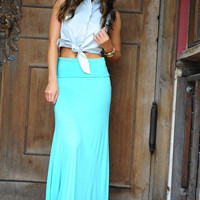 Summer Breeze Maxi Skirt: Bright Teal | Hope's