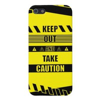 Keep out and take Caution Quotes Covers For iPhone 5 from Zazzle.com