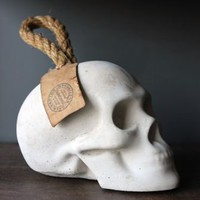 Concrete Skull Door Stop