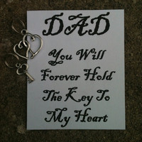 "Father's Day Keepsake from Daughter ""Dad You Will Forever Hold The Key To My Heart"" Key Chain Charm Hearts and Key"
