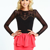 Embroidered Mesh Cropped Top