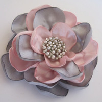 Grey and Pink Satin Wedding Flower Hair Clip  Bride, Bridesmaid, Mother of  Bride Prom with Pearl and Rhinestone Accent