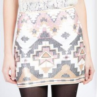 Cream and Multicolor Sequin Tribal Print Skirt