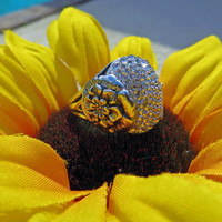 Sterling Silver Flower Ring covered in Swarovski by CrystalIcing
