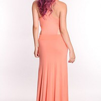 Coral Draped Front Cutout Sides Maxi Dress