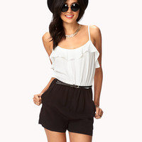 Ruffled Combo Romper w/ Belt