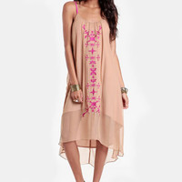 Expedition Embroidered Silk Dress By Aryn K - $114.00 : ThreadSence, Women's Indie & Bohemian Clothing, Dresses, & Accessories