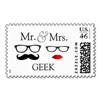 Mr. and Mrs. Geek Postage from Zazzle.com
