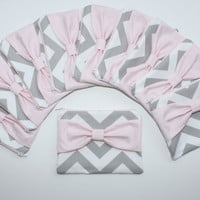 Bridesmaid Gift - Set of (10) Ten Cosmetic Cases / Zipper Pouches - Gray Chevron with Light Pink Center Bow