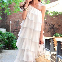 Romantic Tiered One Shoulder White Chiffon Dress. Bridesmaids Dress