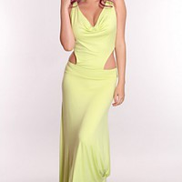 Lime Draped Front Cutout Sides Maxi Dress