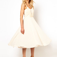 Oasis Exclusive Grecian Pleat Midi Dress