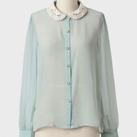 Amelia Collared Button Up Blouse at ShopRuche.com