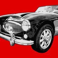 Austin Healey 3000 On Red  Digital Art by Lance Vaughn - Austin Healey 3000 On Red  Fine Art Prints and Posters for Sale