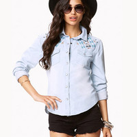 Embroidered Western Denim Shirt