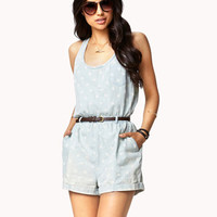 Floral Chambray Romper w/ Belt