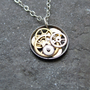 "Clockwork Pendant ""Meteorite"" Clockwork Abstract Elegant Circle Watch Gear Sculpture Delicate Necklace"