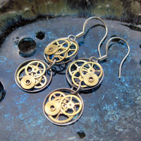 "Steampunk Earrings Gearrings ""Rho"" Elegant Recycled Mechanical Watch Gear Dangle Sterling Silver French Wire Hook Steampunk Earrings"