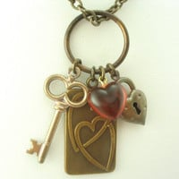 Hearts, Lock and Key Necklace    Shabby Chic Cottage Style Mothers Day Outdoor Wedding Garden