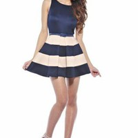 Navy A-line Dress with Bold Beige Stripes