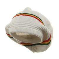 Amazon.com: Medium Crown New rasta Beanie Hat - White rgy W27S28C: Clothing