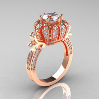 Classic Yeva 14K Rose Gold 10 CT White Sapphire by artmasters