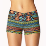 Tribal Print Denim Cut Offs