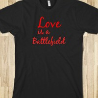 Love is a battlefield tshirt. - Hippie on the hill - Skreened T-shirts, Organic Shirts, Hoodies, Kids Tees, Baby One-Pieces and Tote Bags