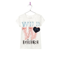 TEXT T-SHIRT WITH HEART PATCH - T-shirts - Girl - Kids - ZARA United States