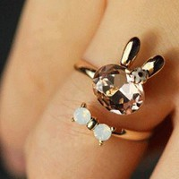 Bunny and Bow Tie Rhinestone Finger Cuff Ring | LilyFair Jewelry