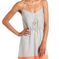 Neon Trim Striped Chiffon Dress: Charlotte Russe
