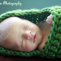 Newborn Photo Prop Baby Cocoon Olive Green Hooded Infant Wrap - MADE TO ORDER