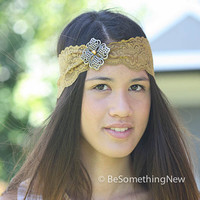 Gold elastic lace headband with metal flower, women hair accessories
