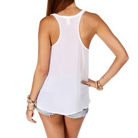 White Woven Back Tank