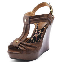 Charlotte Russe - Burnished T-Strap Wood Wedge