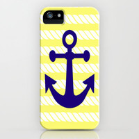 Blue Anchor with Yellow Ropes iPhone & iPod Case by PopEnterprises