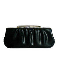Vintage Clutch Purse Black Leather Ruched Design - Gold Tone Frame