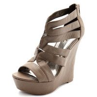 Charlotte Russe - Caged Leatherette Wedge