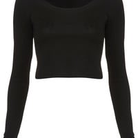 Long Sleeve Crop Tee - Topshop