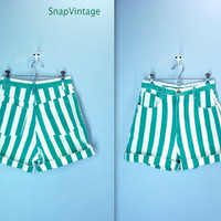 Vintage 80s High Waist Shorts / Green White Denim Shorts
