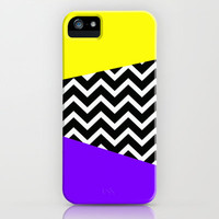 Bright Yellow/ Purple Chevron Pop Design iPhone Case iPhone & iPod Case by RexLambo