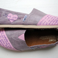 Womens Love Bible Verse Hand Painted TOMS, Metallic Orchid and Pink, 1 Corinthians 13, Custom hand painted shoes