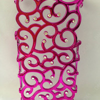 hot pink iphone 4 case,hollow out iphone 4 case, iPhone 5 case,Unique iPhone 5 case, handmade iphone case with Crystal
