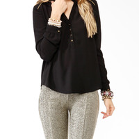 Relaxed Metallic Trimmed Top
